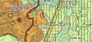 """ייעוד החלקות לאזור פיתוח עירוני לפי תכנית תמ""""מ 6 (תכנית מתאר מחוזית - מחוז חיפה). אזור שמיועד להתפתחות הטבעית של המועצה ממזרח. להגדלה - לחץ כאן"""