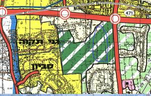 """ייעוד גוש 6391 לאזור """"נופש מטרפוליני"""" לפי תכנית מתאר מחוזית תמ""""מ 21/3 ( מחוז מרכז). אותו ייעוד שהוביל לתביעה של בעליי הקרקעות. להגדלה - לחץ על תהמונה"""