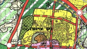 """ייעוד גוש 3640 לאזור של גן לאומי לפי תמ""""מ 21/3 ( תכנית מתאר מחוזית – מחוז מרכז). להגדלה – לחץ על התמונה"""