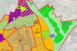 ייעוד חלקה 4 בגוש 3688 לטובת שטח חקלאי פתוח, לפי תשריט ייעודי הקרקע המצורף לתכנית המתאר לכלל העיר רח/2025. להגדלה - לחץ על התמונה