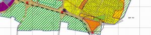 """תשריט ייעודי הקרקע מתוך תכנית המתאר הכוללנית של העיר (אין מכוחה להוציא היתרי בנייה), המייעדת בנייה רוויה( צבע כתום -מגורים ג) לשטחים המיועדים לאזור פיתוח עירוני בלבד לפי תכנית תמ""""מ /21/3.אזור זה יצטרך תכנית חדשה ופרטנית שתוקם רק לאחר אישורה הסופי של תכנית המתאר של העיר רצ/2030 שנמצאת בהפקדה במחוזית."""
