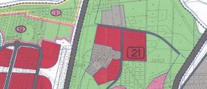תשריט שלבי הבנייה הסופי של חלקה 54 בגוש 10004 כחלק ממתחם 21, לפי תכנית חד/2020 ( שאושרה סופי ב 30/03/14) . המייעד את הקרקע לשלב השלישי( צבע אדום - לאחר שנת 2025) להגדלה - לחץ על התמונה