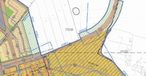 מיקום הקרקע לפי תשריט ייעודי הקרקע של תכנית המתאר לכלל המועצה כפר תבור שאושרה סופית בפרואר 2014.