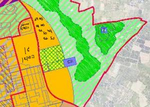 ייעוד חלקה 40 והחלקות הקרובות (מסומנות בעיגול) לטובת מגורים לפי תשריט ייעודי הקרקע המצורף לתכנית המתאר לכלל העיר. להגדלה - לחץ על התמונה