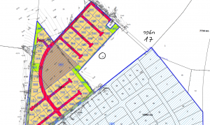 מיקום החלקה לפי תכנית ההרחבה החדשה של היישוב חרוצים, הנמצאת לפני הפקדתה במחוזית. להגדלה - לחץ כאן