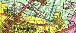 """המתחם מצפון לרחוב בן יהודה לפי תכנית מתאר מחוזית - מחוז מרכז ( תמ""""מ 21/3). מתחם שיצטרך הקמה של תכנית חדשה וכוללת, דבר שמוטל על """"החברה הכלכלית"""". להגדלה - לחץ כאן"""