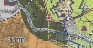 """ייעוד גוש 10021 לאזור פארק מטרפוליני לפי תמ""""מ 6 (תכנית מתאר מחוזית - מחוז חיפה).  להגדלה - לחץ על התמונה"""