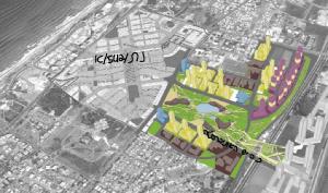 """הדמיית תכנית """"לב המטרופולין"""" הממוקמת בסמוך למתחם נת/542/א"""