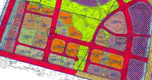 חלקה 10 בגוש 3947 (מסומנת בעיגול - מתחם ג) וחלקה 228 בגוש 3946 (מסומנת בריבוע -מתחם ב) לפי תשריט ייעודי הקרקע המצורף לתכנית רצ/1000/1. שני המתחמים יאוחדו לטובת תכנית איחוד וחלוקה. להגדלה - לחץ על התמונה.