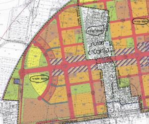 תשריט ייעודי הקרקע המצורף לתכנית כ/450/ב , המחלקת את מערב העיר לשלושה מתחמים, שלכל מתחם תוכן פרטנית באופן נפרד. להגדלה - לחץ כאן