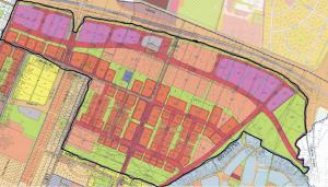 תשריט ייעודי הקרקע המצורף לתכנית הר/1202 שהופקדה מחדש ב 12/09/14, ונמצאת בתחילת שלב ההתנגדויות