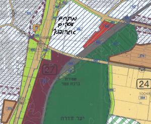 """ייעוד החלקות הנ""""ל לאזור תעסוקה כחלק ממתחם 27 ,שאמור להיות המשך טבעי של פארק העסקים אגרובנק הנמצא לפני התחלת בנייה. מתוך תשריט ייעודי הקרקע של תכנית המתאר לכלל העיר חדרה -חד/2020. להגדלה - לחץ על התמונה"""