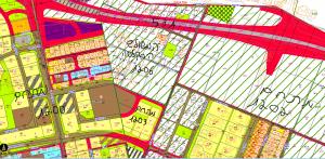 """מיקום מתחם """"המשולש המזרחי"""" שטח כלוא בין שלושה מתחמי מגורים. 1200 ממערב המצוי בבבניה, 1203 מדרום המופשר מתחם 1202 ממזרח המצוי בשלב מתן התנגדויות"""