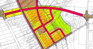 """ייעוד החלקות הנ""""ל לבנייה משולבת של צמודי קרקע (צבע צהוב) ובנייה רוויה (כתום) מתוך תשריט ייעודי הקרקע המצורף לתכנית מספר 308-077594 - """"פרדס חנה על הפארק. להגדלה - לחץ על התמונה"""