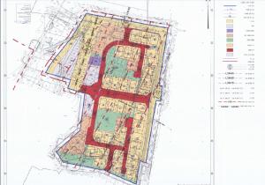 תשריט ייעודי הקרקע מתוך תכנית תא/3388/א המאושרת למתחם הפנוי שמצפון לגוש הגדול. להגדלה - לחץ על התמונה